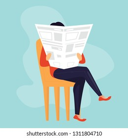 woman is reading newspaper on the sofa vector