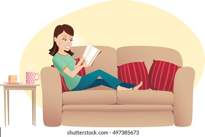 Woman reading on sofa.