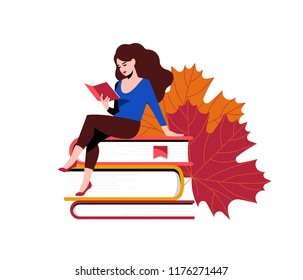 Woman reading and sitting near giant stack of books. Behind her are the giant maple leaves. Concept for a book festival, fair, reading challenge. Vector illustration of girl with books.