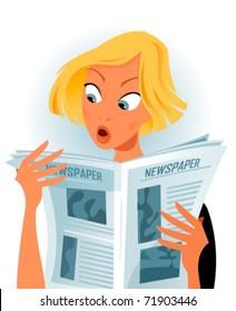 woman reading some shocking news