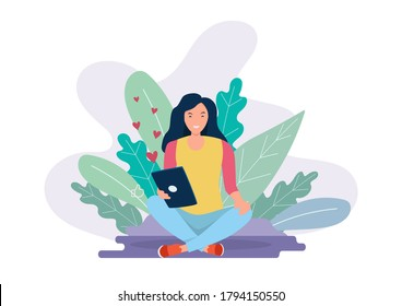 Woman reading with a tablet computer. Flat style design.