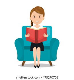woman reading textbook icon vector illustration design