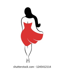 The woman rear view with long hair and in a red dress. An isolated vector illustration
