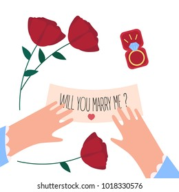 Woman received will you marry me note and engagement diamond ring in a box on valentine. Red roses, female hands, jewelry gift and letter on white background. Vector illustration