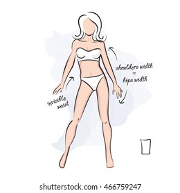 Woman rectangle body shape. Vector illustration of girl's figure. Woman in bathing suit.
