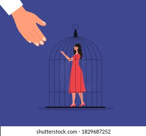 Woman in red dress stay in bird cage. Hand helping woman to escape. Freedom. Vector