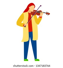 Woman with red hair playing violin, white background, musical instrument, flat style , cartoon character