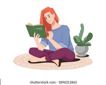 Woman with red hair reading book sitting on floor in lotus position. Lady enjoying literature, weekends or leisure of lady. Young personage or student. Cartoon character, vector in flat style