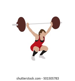 Woman in red jersey practicing with barbell. Weight-lifting flat illustration. Bodybuilding. Vector isolated silhouette
