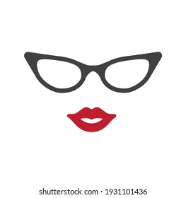 А woman with red lips and glasses.