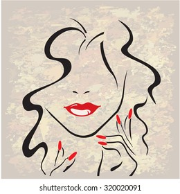 Woman with red lips, red nails and black hair. new vector version