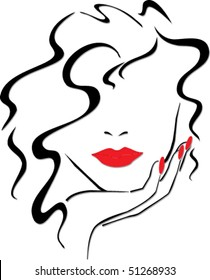 woman with red lips and red nails. vector