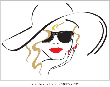 Woman with red lips and red nails wearing a hat and sun glasses. vector, illustration