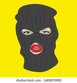 woman with red lips on black balaclava. pop art. vector illustration