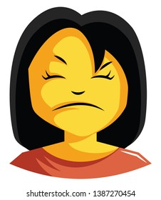 Woman in red top is looking bit cranky illustration vector on white background