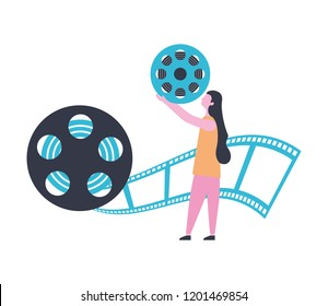 woman reel strip production movie film