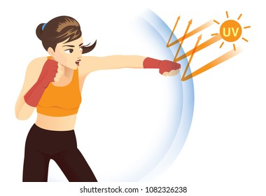 Woman reflect UV ray with punching. Concept illustration about skin protection from sunlight.