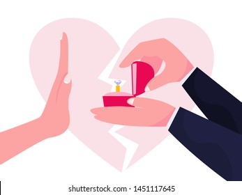 Woman reject the marriage proposal. Hand gesture no, end of relationship. Wedding refusal. Isolated vector illustration in cartoon style