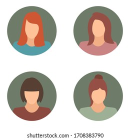 Woman related icons collection. Female avatar icon set