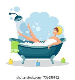 Woman relaxing in bathtub with candles. Bath with foam and shower isolated on background. Spa in bathroom interior. Vector illustration. Flat style design