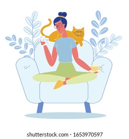 Woman Relaxing with Cat Flat Vector Illustration. Girl, Cute Pet Sitting in Armchair at Home. Female Character, Chatting Online Using Smartphone, Drinking Hot Tea. Domestic Animal Sleeping