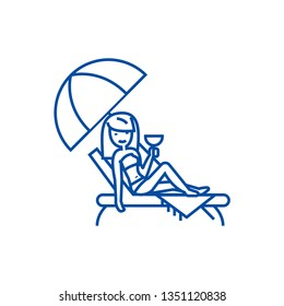 Woman relaxing on beach in sunbed  line icon concept. Woman relaxing on beach in sunbed  flat  vector symbol, sign, outline illustration.