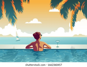 A woman is relaxing in the pool, in a luxurious beachfront hotel at sunset, enjoying the perfect beach holiday