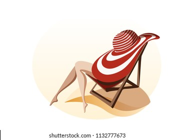Woman relaxing and sunbathing on the beach. Pretty slim women's legs stick out from big striped sun hat. Summer holidays vector illustration