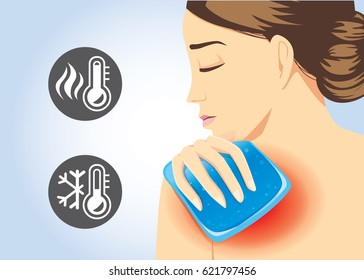 Woman relief of shoulder pain with Cold and hot pack gel. Illustration about first aid equipment.