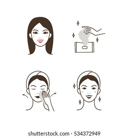 Woman removing make up with a facial cleaning napkin. Vector illustration.