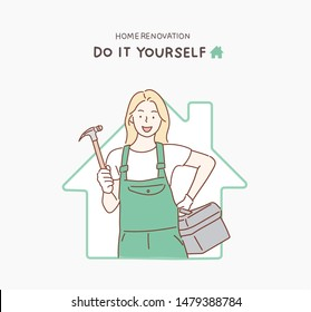 Woman with repair tools in hand. Hand drawn style vector design illustrations.