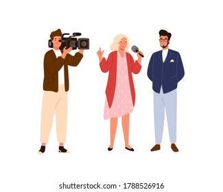 Woman reporter and cameraman interviewing celebrity man on air. Journalist people make news program in real time. TV record, newscaster. Flat vector cartoon illustration isolated on white background