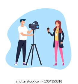 Woman reporter journalist making reportage. Social media TV show concept. Vector flat cartoon graphic design illustration