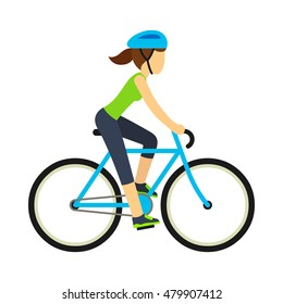 Woman riding bicycle, flat cartoon vector style. Health and fitness illustration.