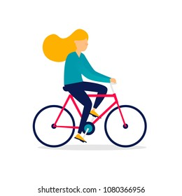 Woman is riding a bicycle. Flat illustration isolated on white background.