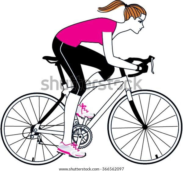 Woman Riding Bicycle Road Bicycle Woman Stock Vektorgrafik