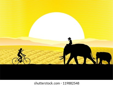 A woman riding bicycle in South East Asia rural silhouette, Vector