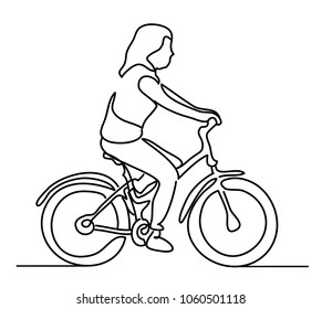 Woman riding a bicycle. Young girl wearing summer clothes. Vector monochrome, drawing by lines. Continuous line drawing. People in the Park. sketch