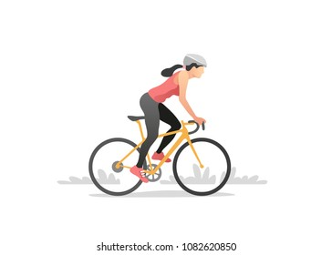 Woman riding a bike. Healthy lifestyle. Vector illustration.