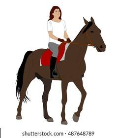 woman riding horse 2 - vector