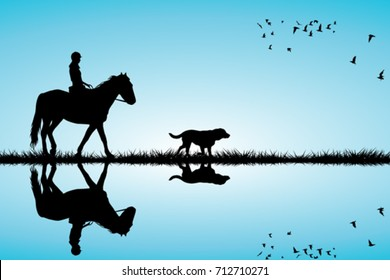 Woman riding a horse and dog silhouettes