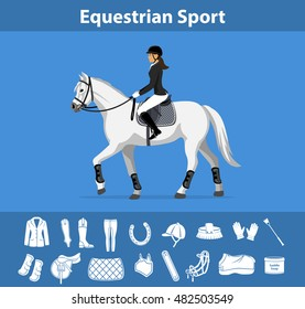 Woman Riding Horse in show outfit. Equestrian Sport English  Equipment Icons Set. Gear and Tack accessories.  Jacket, breeches, gloves, boots, chaps, whip, horseshoes, grooming brush, saddle, pad