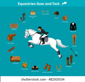 Woman Riding Jumping Horse in show outfit. Equestrian Sport Equipment Infographic Items. Gear Tack accessories. Jacket, breeches, gloves, boots, chaps, whip, horseshoes, grooming brush, english saddle