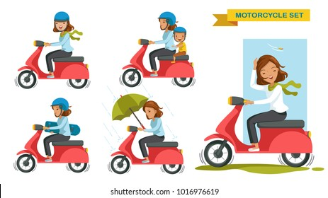 woman riding motorcycle different gestures set. Cartoon character. vector illustration isolated on white background.