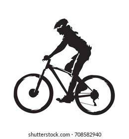 Woman riding mountain bike, cycling abstract silhouette, side view