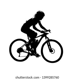 Woman riding mountain bike, mtb cycling. Isolated vector silhouette, side view