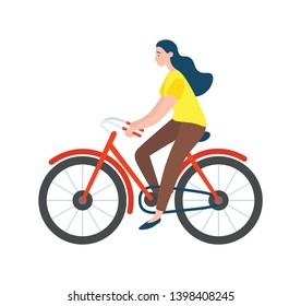 Woman riding on bike isolated vector cartoon character. Vector female bicyclist cycling on modern eco transport profile view. Active way of life, healthy lifestyle
