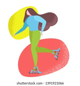 Woman riding a roller skates in park. Vector flat illustration. Trendy naive style whimsical figure drawing, flat, funky, like matisse. Fun park transport. Urban park activity, sport summer device.
