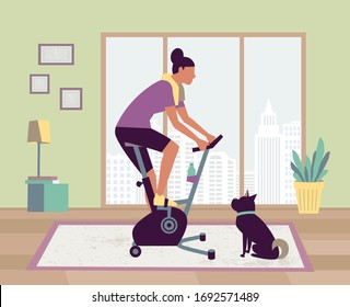 Woman riding stationary bike stay at home with pet vector. Workout at home gym cardio fitness training equipment cartoon illustration. Riding indoors sport exercise bicycle. Healthy life background