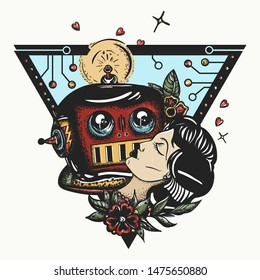 Woman and robot. Old school color tattoo style. Sci-fi movie art. Lovers of future. Retro futuristic. Crying cyborg kisses beautiful sleeping girl